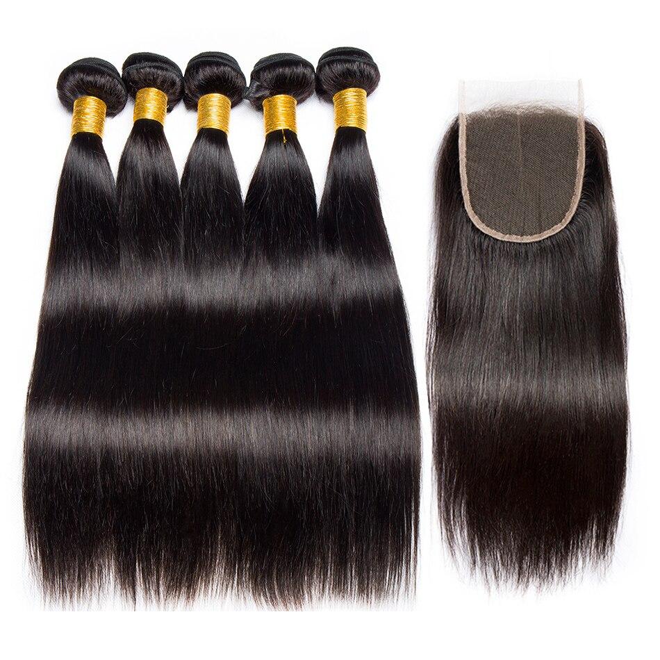 Alibele Peruvian Straight Hair 4 Bundles with Closure Natural Black 1B Hair Extension Remy Human Hair