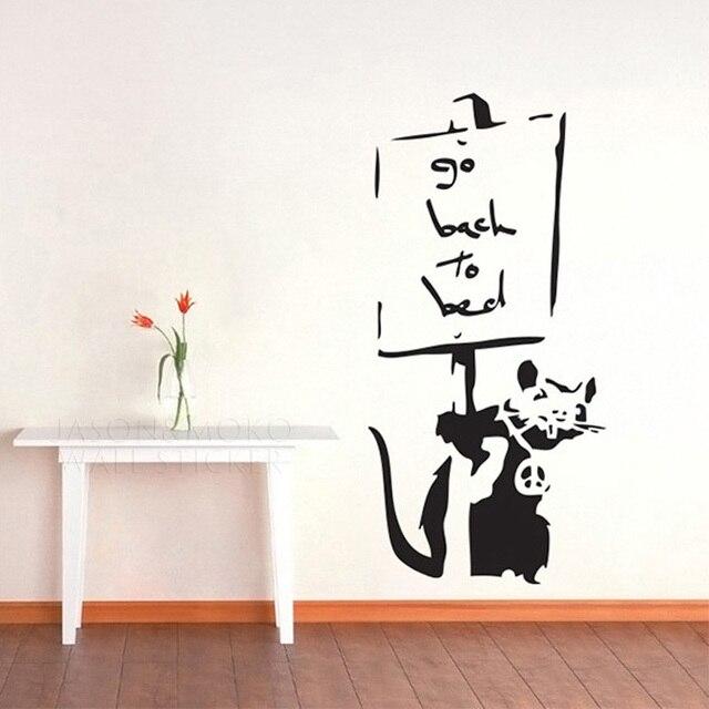 Creative cool banksy wall stickers vinyl mural wallpaper for Banksy rat mural