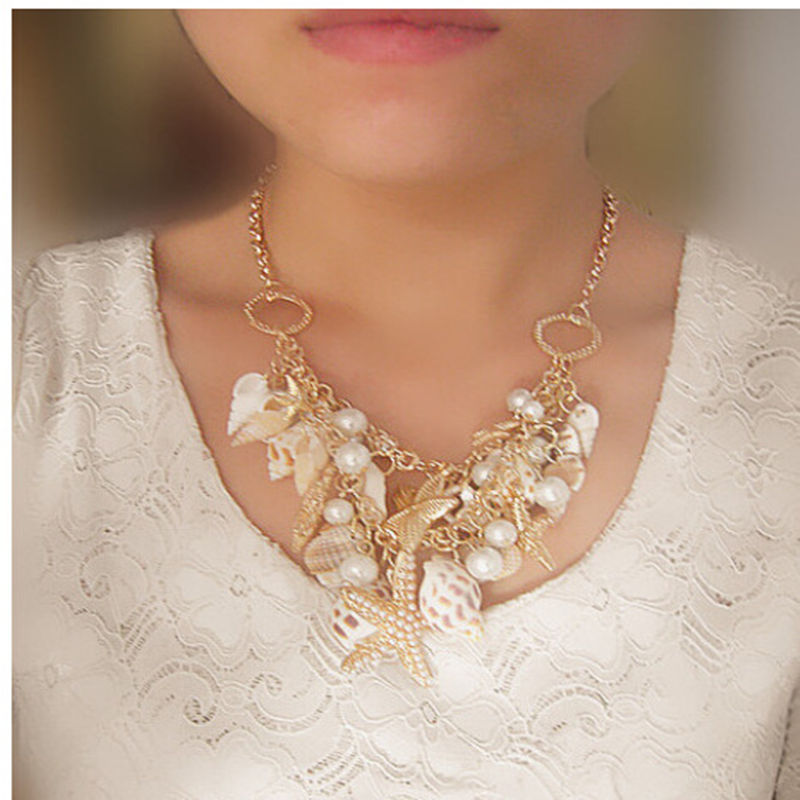 Summer Beach Style Natural Shell Starfish Imitation Pearls Choker Necklace Gold Sweather Chain For Woman Maxi Statement Necklace