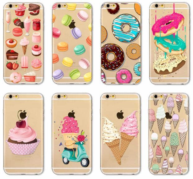 For iPhone XS Max XR X 8 7 6 6S Plus Cover Sweet Ice Cream Donut Cake Clear  Soft TPU Case-in Fitted Cases from Cellphones   Telecommunications on ... 05dca2fc16e4