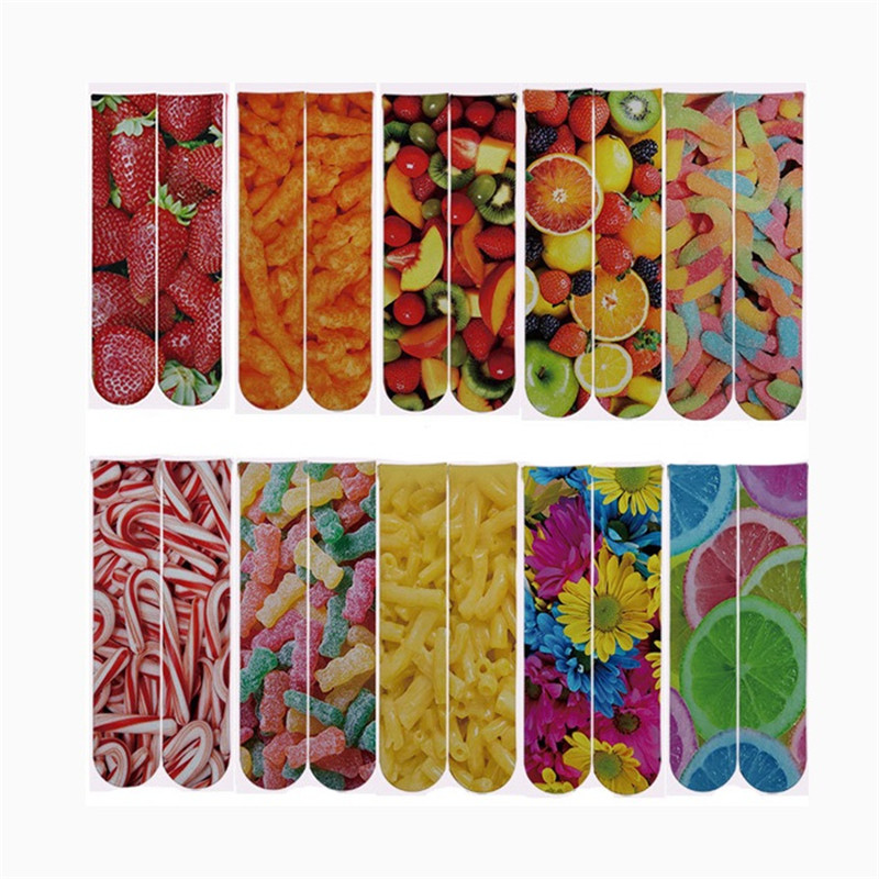 NEW Unisex 3D Fruit Printing Socks Women/Men Funny Strawberry/Lemon/Candy/Sugar 3d Printed Socks Autumn Spring Ankle Sock