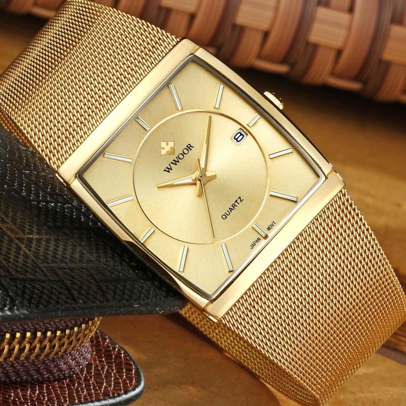 New Wwoor Brand Luxury Men Square Waterproof Gold Watch