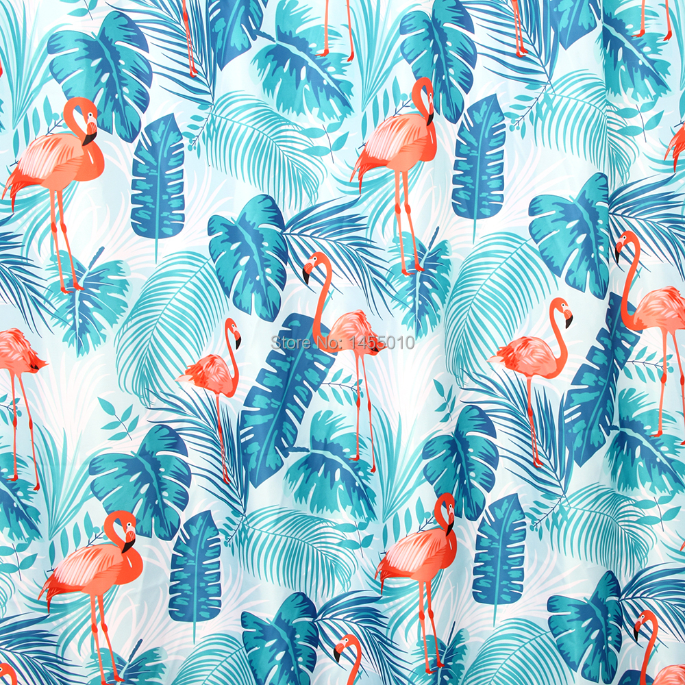 Купить с кэшбэком Happy Tree Polyester Red Flamingo Green Leaves Shower Curtain Thicken Fabric Bathroom Curtain Waterproof Bath Curtain 180x180cm