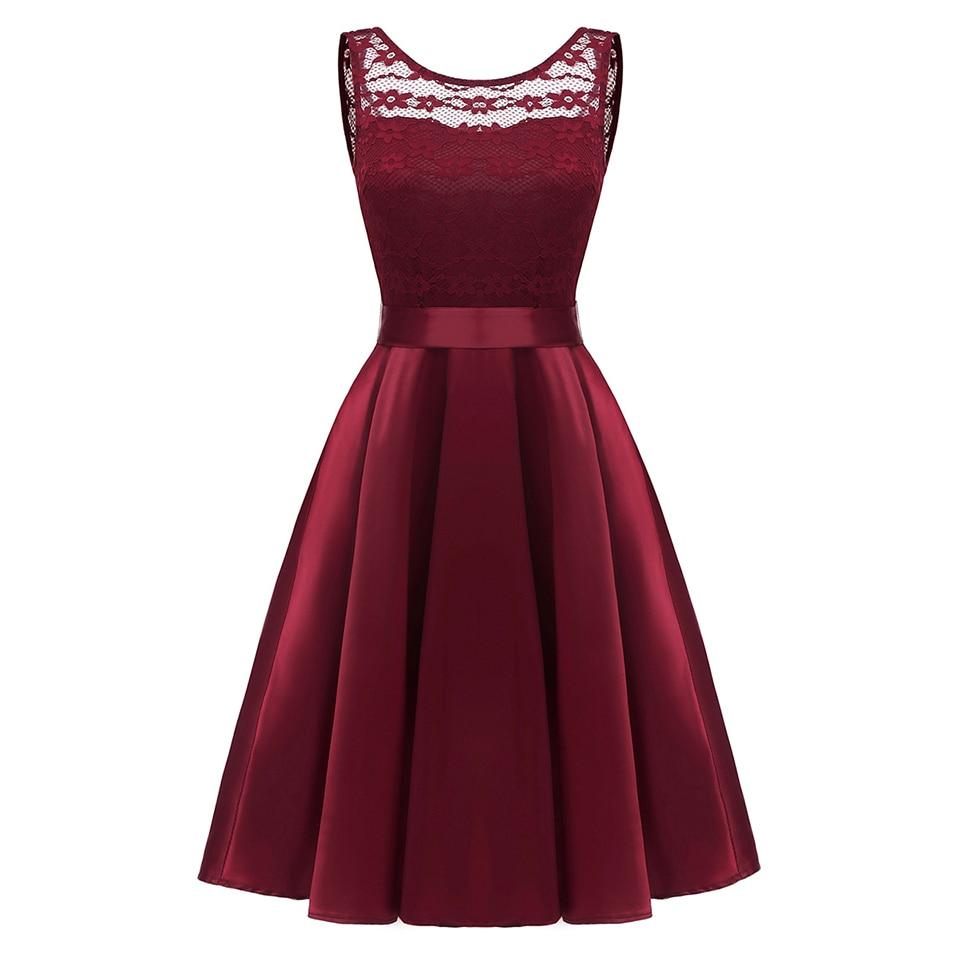 Dressv burgundy   cocktail     dress   cheap scoop neck sleeveless lace up graduation party   dress   elegant fashion   cocktail     dress