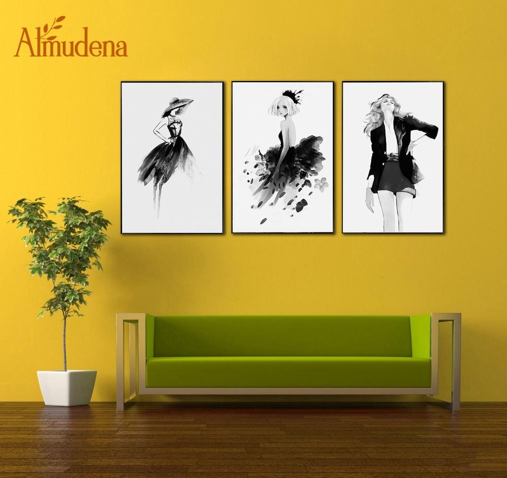 ALMUDENA Nordic Minimalist Abstract Black and White Beauty Girls ...