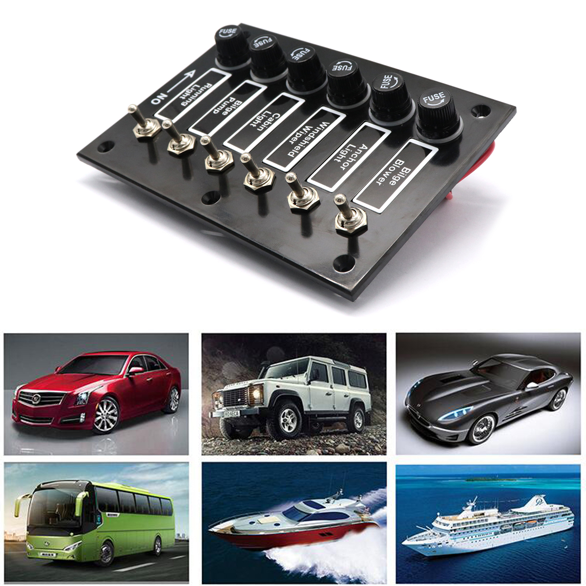 6 Gang DC 12V/24V Fused ON/OFF Toggle Switch Panel for Marine Boat Caravan RV With 6 Screws Car Accessories 5