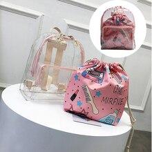 2 in 1 Backpack Women Cute Clear Mini Female Backpack Transparent School Bag For