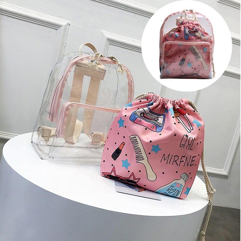 Cute Clear Mini Backpack Women Female Backpack Transparent Small School Bag For Girls Teenagers 2 IN 1 Zipper and Drawstring Bag