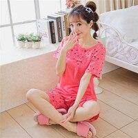 Plus Size Sleepwear Women Cotton Summer Cartoon Pajamas Set Short Sleeve Cute Lounge Set XL XXL