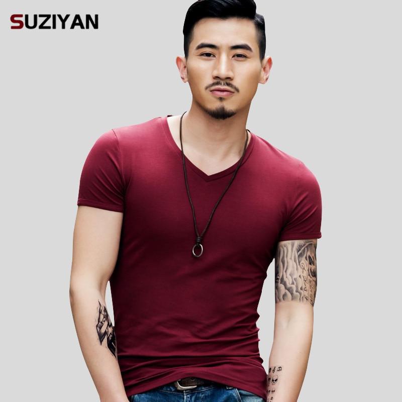 2019 New Brand Elastic Mens   T  -  Shirt   V-Neck Short Sleeve Men   T     Shirt   Male Big Size TShirt Comfortable Soft Breathable Man Tees