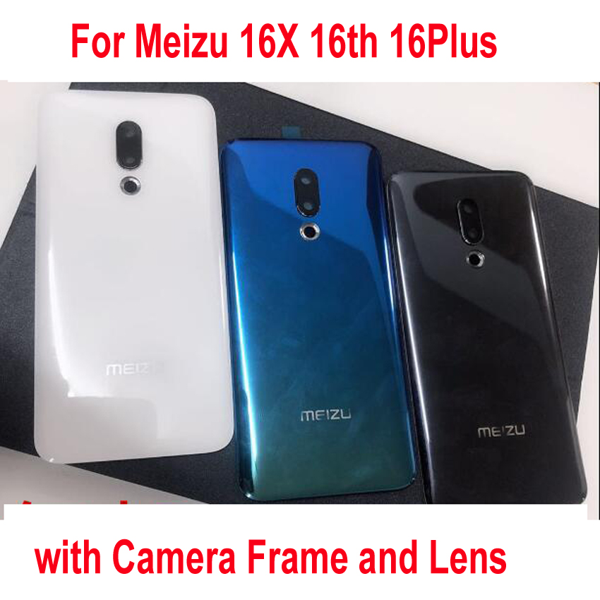 Original Best Back Battery Cover Housing Door Rear Case With Camera Fame And Lens For Meizu 16X 16th 16Plus + STICKER Adhesive