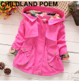 2016 spring autumn girls jacket children's clothing girl trench coat owl printing kids jacket hooded girl coats and jackets