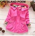 Ropa de 2016 del otoño del resorte niños niñas chaqueta chica gabardina impresión owl niños chaqueta con capucha niña abrigos y chaquetas