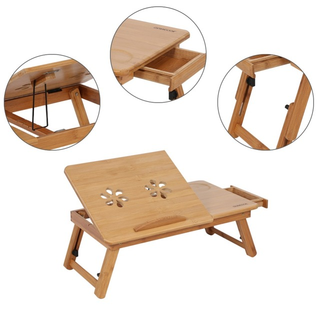 1Pc Adjustable Bamboo Rack Shelf Dormitory Bed laptop stand Two Flowers Book Reading laptop table