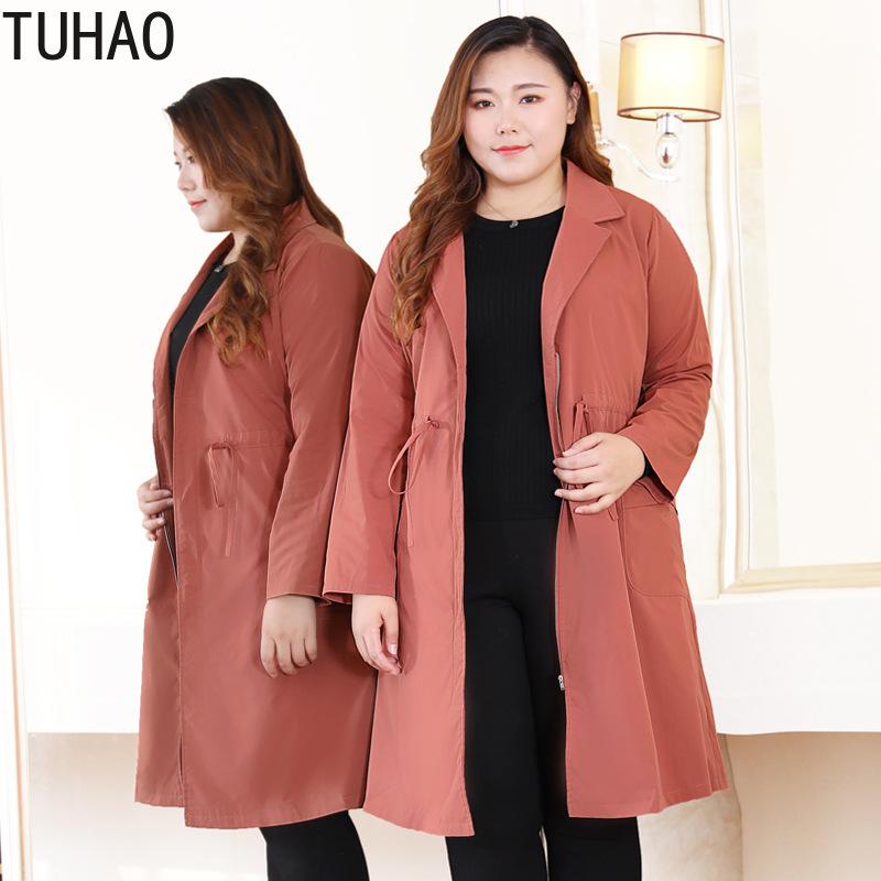 TUHAO 2019 Office Lady Loose Women Spring   Trench   Coat Plus Size 10XL 9XL 8XL Windbreaker Long Autum Streetwear   Trench   Coats MSFS