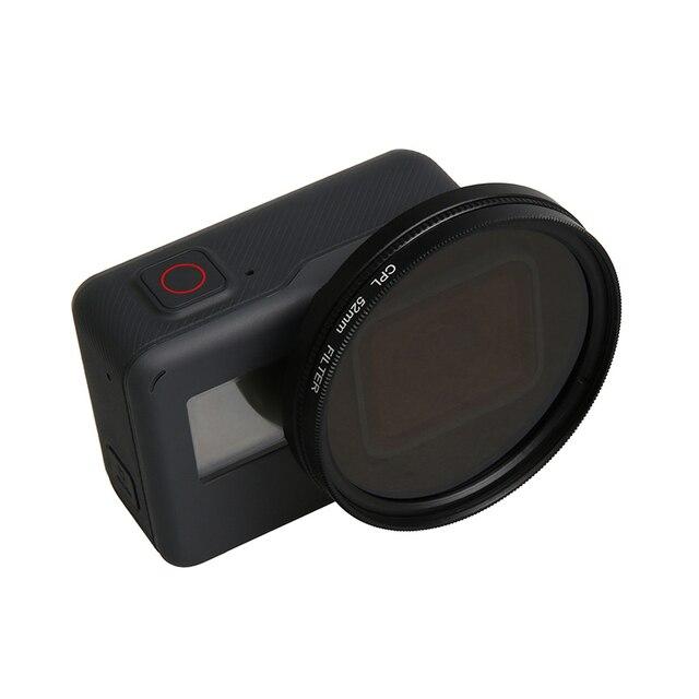 Cubierta impermeable de Metal negro de 52mm con polarización Circular CPL juego de filtros para lentes con adaptador de filtro para GoPro Hero 7 6 5