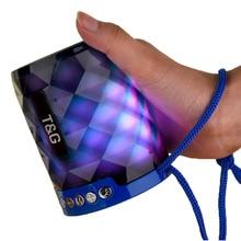 Mini Altavoz Bluetooth T & G 155, luz LED portátil de diamante, altavoz inalámbrico para exteriores, soporte de llamada con manos libres, tarjeta TF, disco USB