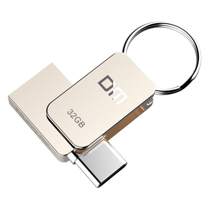 Chave 64 gb da movimentação da pena do metal usb 3.0 da movimentação 32 gb otg do flash de dm pd059 usb tipo c de alta velocidade pendrive mini vara da memória da movimentação do flash