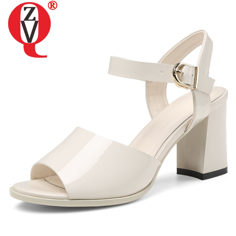 ZVQ shoes woman 2019 summer new fashion sexy high hoof heels buckle woman sandals outside plus