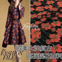 017 European and American big high grade autumn and winter yarn dyed Jacquard fabric / dress coat fabric cloth wholesale