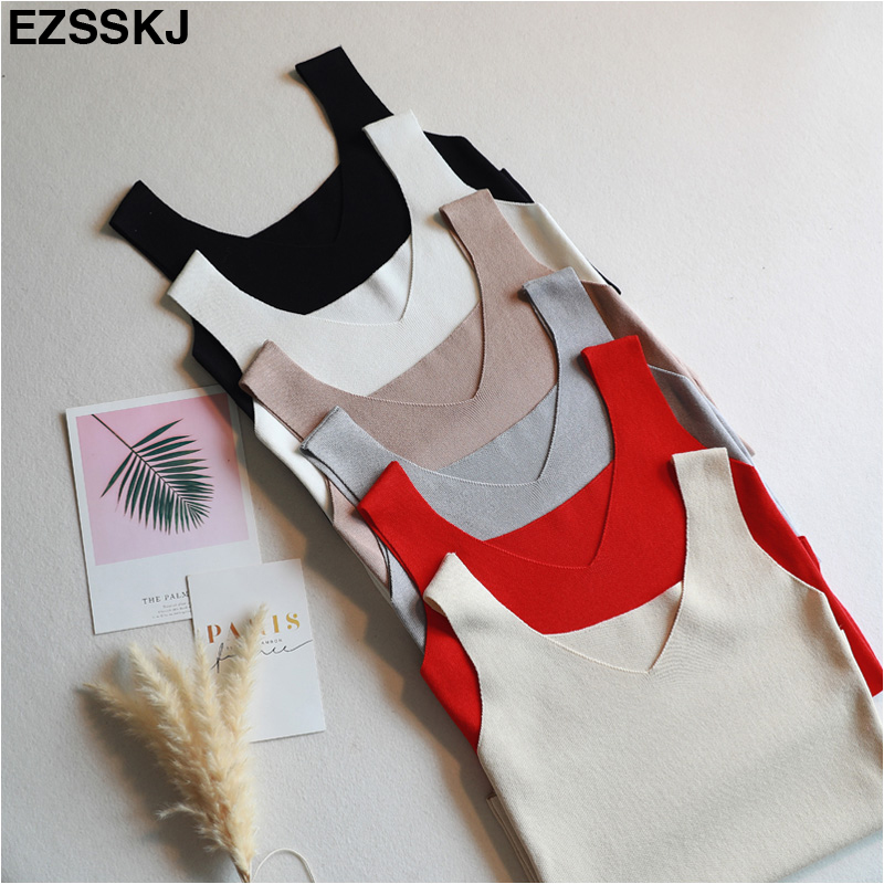 Sexy Knitted Top Summer Tank top Women big size camisole Blouse Sleeveless V Neck Slim Top