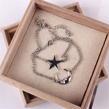 2pcs/Set Chic Simple Style Moon And Star Romantic Couple  Silverbracelet Jewelry Accessories