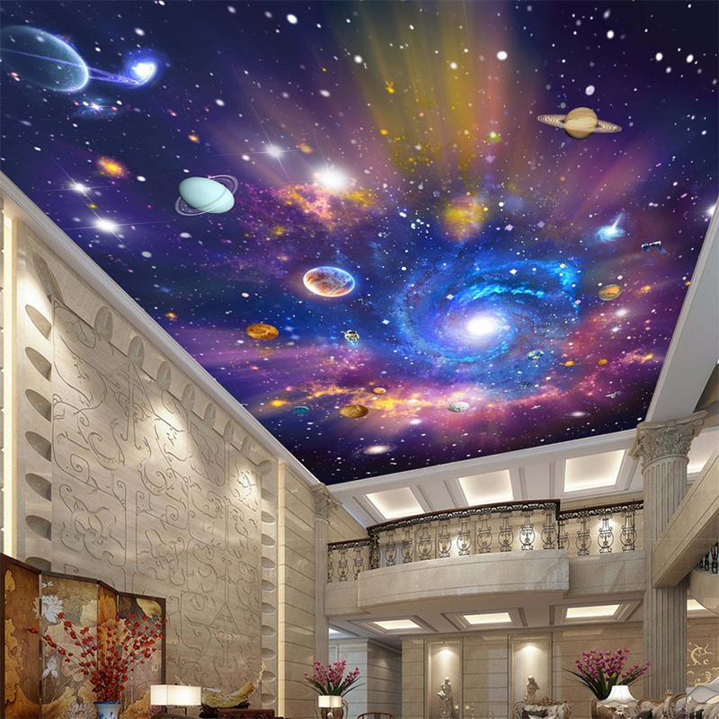 Custom 3d ceiling mural wallpaper color cosmic sky for Ceiling sky mural