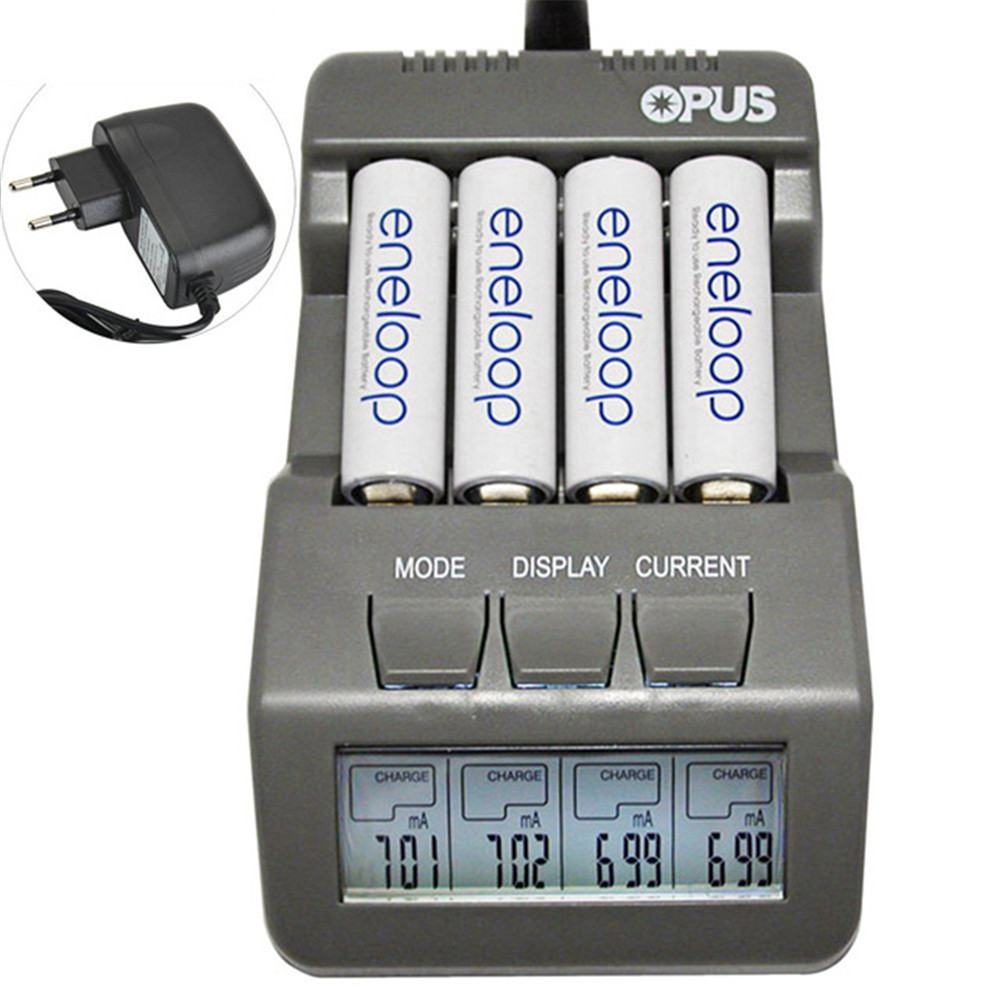 Opus BT-C700 4 Slots Intelligent AA AAA Battery Charger with LCD screen EU Plug Ni-MH NiCd Charger luces led de policía