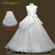 2018 Summer Flower Girls Tulle Appliques Dresses for Wedding Kids Pageant Evening Dress First Holy Communion Dresses for Teens недорого