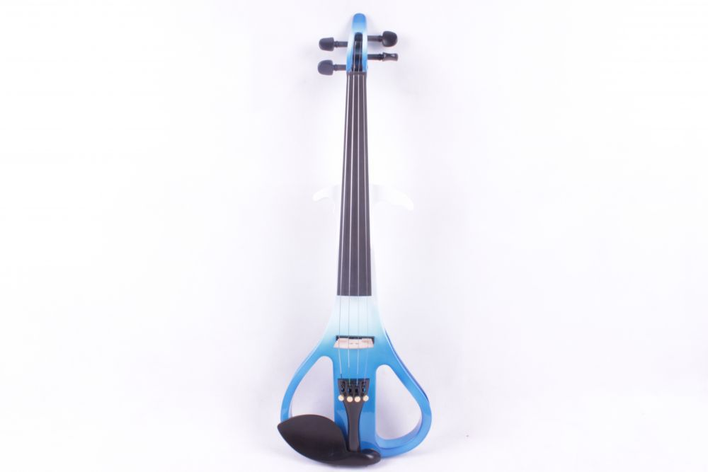 3# one  4 string blue and white  color Solid wood  electric violin handmade new solid maple wood brown acoustic violin violino 4 4 electric violin case bow included