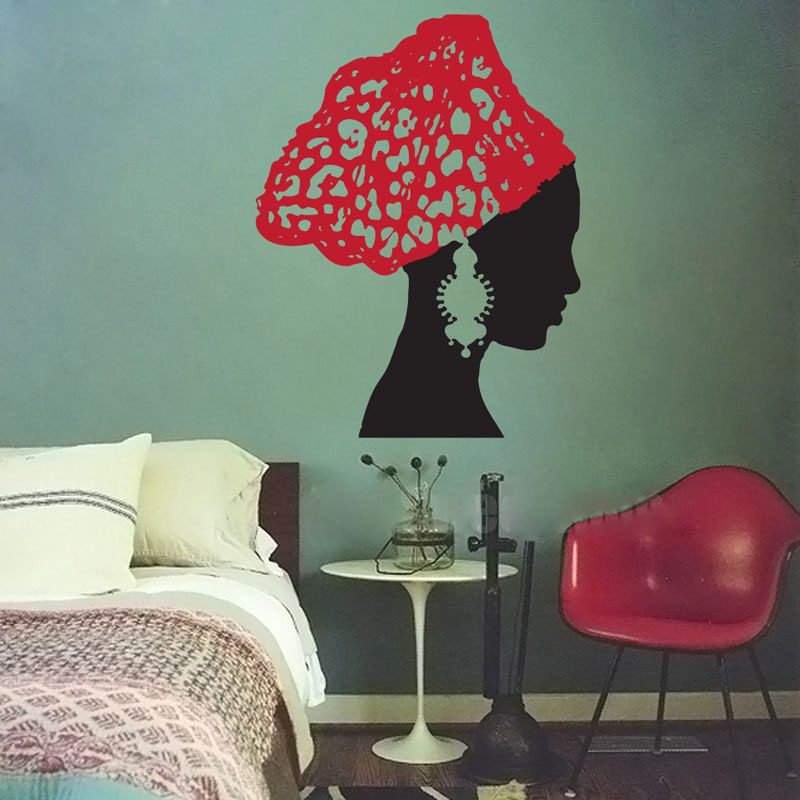 Afrikanische Frau Vintage Ohrringe Schal Salon Abnehmbare Vinyl Wandaufkleber Aufkleber Home Decor DIY Kunst Badezimmer wohnzimmer schmücken