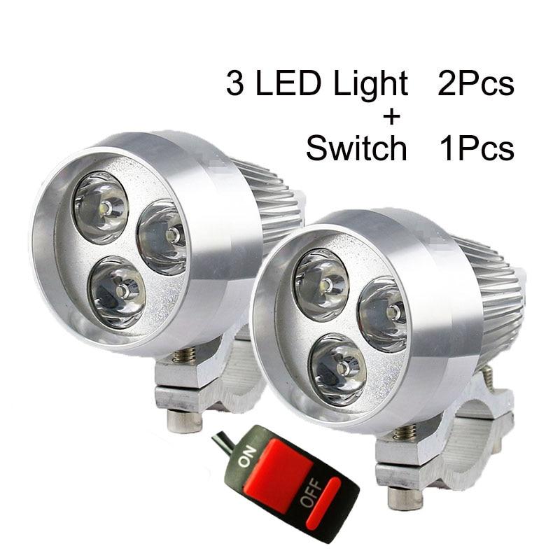 Spotlight Headlight: 2Pcs Motorcycle Headlight 12V LED Motorbile Spotlight