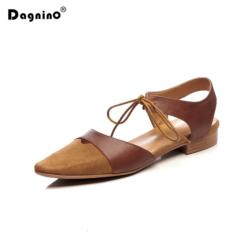 DAGNINO Women Square Head Sandals Front Cross Tied High Quality Genuine Leather Patchwork 2018 New Fashion Summer Ladies Shoes new women head scarf chemo hat turban pre tied headwear bandana tichel for cancer ladies turbante