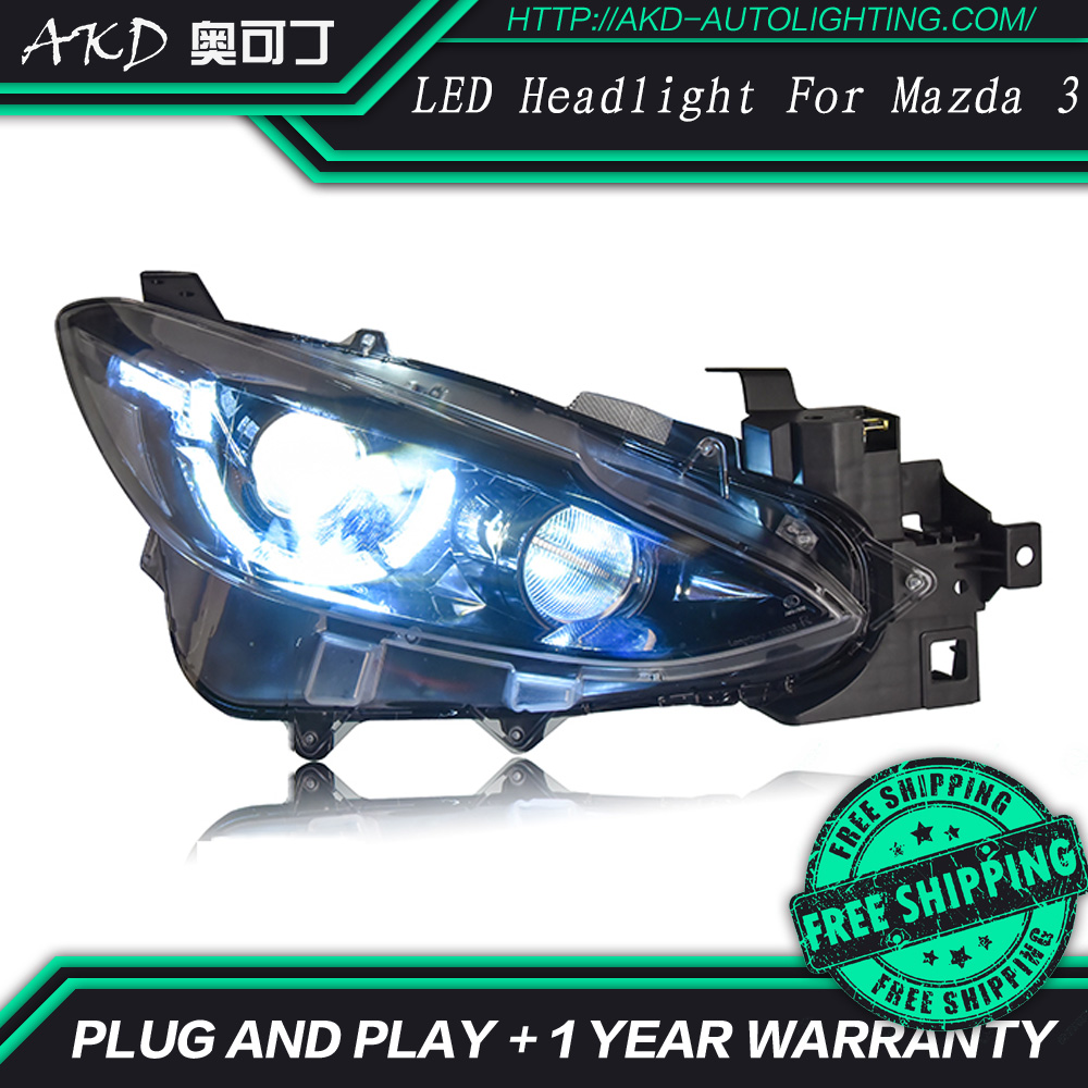 akd brand new styling led head lamp for mazda 3 headlights. Black Bedroom Furniture Sets. Home Design Ideas