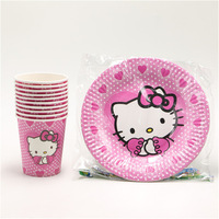 20PCS Hello Kitty Theme 10 Plates 10cups Happy Birthday Party Supplies 10person Party Decoration Tableware Set