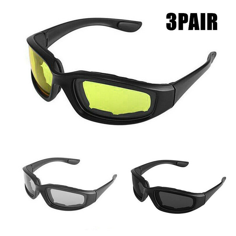 New 3 Pairs COMBO Chopper Padded Wind Resistant Sunglasses Motorcycle Riding Glasses