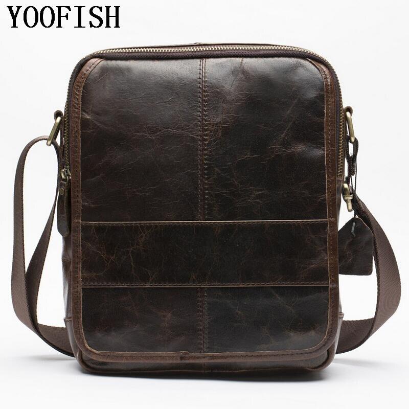 YOOFISH  Men Messenger Bags Genuine Leather Bag Men's Briefcases Handbag Totes Men Shoulder Crossbody Bags  Travel Casual Bag
