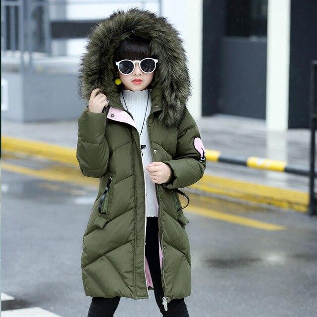 Белая утка вниз девочки зимние куртки девочек для зимы маленькая Крупные девушки зимние куртки с меховым капюшоном красный розовый черный зеленый одежда