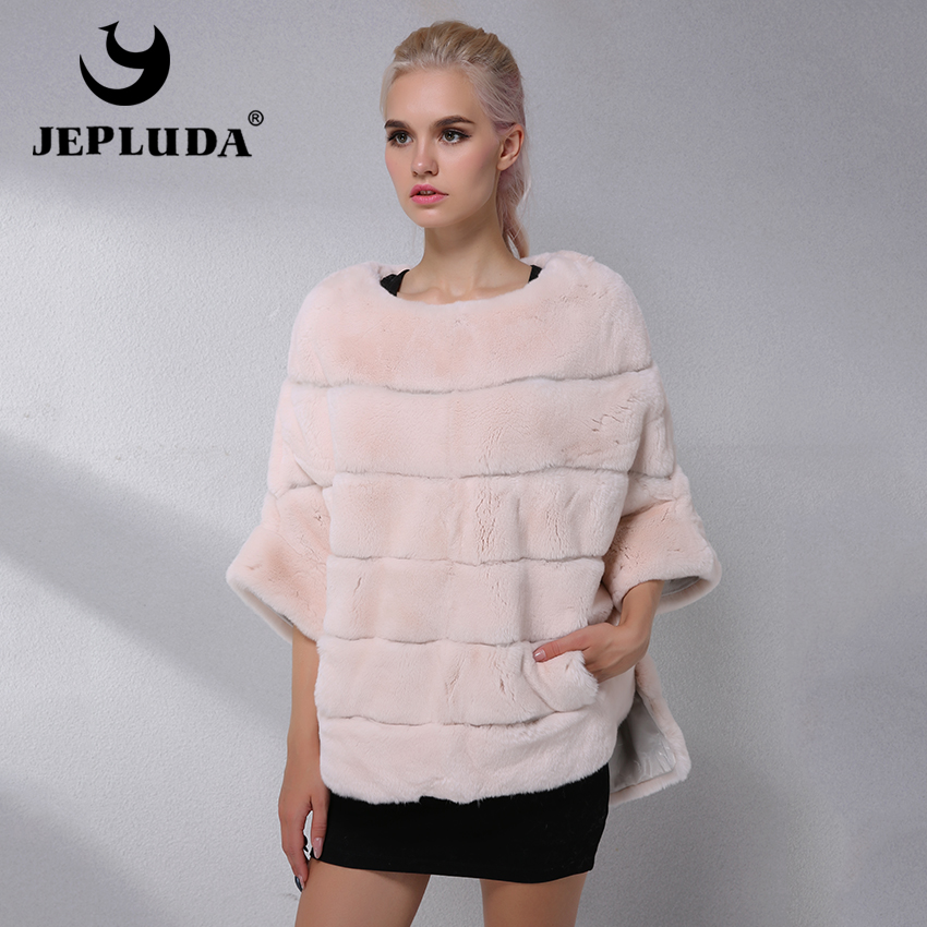 JEPLUDA Brands Hot Sale Real Rex Rabbit Fur Cape Women Clothes Fashion Pullover Natural Real Fur Coat Warm Leather Jacket Women