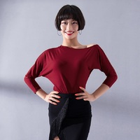 3 Colors Latin Dance Tops Female Adult Ballroom Samba Long Sleeved Dancing Performance Shirt Practice Clothes For Salsa DL2731