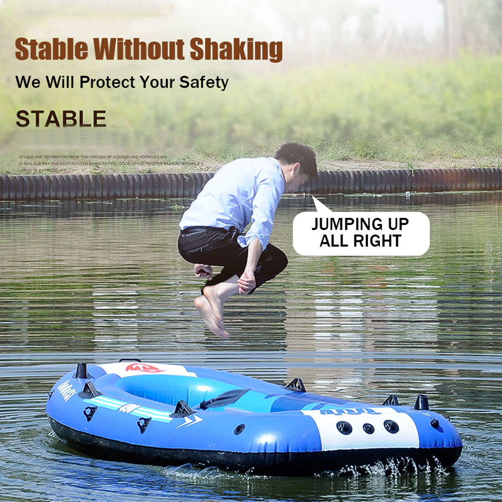 Inflatable Fishing Drifting Rescue Raft Boat Rubber Boat Kit PVC Life Jacket Two Ways Electric Pump Air Pump Paddles