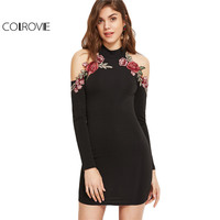 COLROVIE Vintage Bodycon Dress Women Black Cold Shoulder Embroidery Mini Summer Dresses 2017 New Long Sleeve