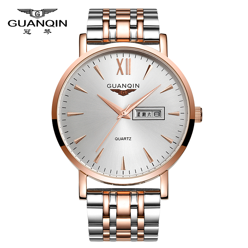 ФОТО GUANQIN GS19033 Luxury Men watches Business Top Brand Silver Steel Quartz-Watch Men's Fashion Casual watches Male Wristwatch