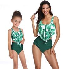Funfeliz Family Matching Outfit Swimsuit Girls Bathing Suit Kids Ruffle Tankini Mother Daughter Two Pieces Swimwear High Waist
