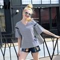 2017 das mulheres da primavera outono Nova Tarja Shirtwear feminino trumpet manga V colarinho bordado algodão solto grande código fina