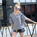 2017 del otoño del resorte Nuevas mujeres de La Raya Shirtwear femenina manga de la trompeta V cuello bordado de algodón floja de gran código delgado