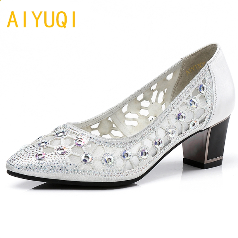 AIYUQI 2018 new genuine leather women's banquet shoes pointed shoes summer hollow mesh breathable female diamond shoes women 34# summer lazy white shoes women 2018 new korean version joker hollow breathable cloth shoes mesh shoes