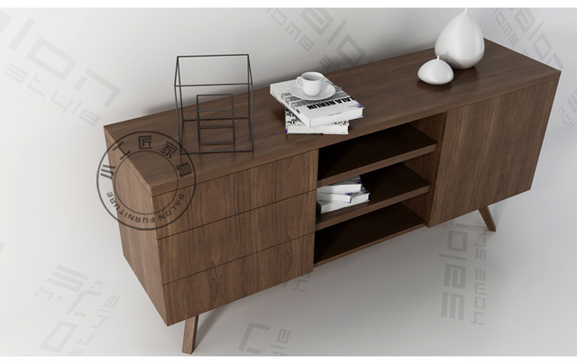 Small Artisan Wood Veneer Furniture Simple And Stylish Italian Leather  Continental Sideboard Cabinet IKEA Small Households