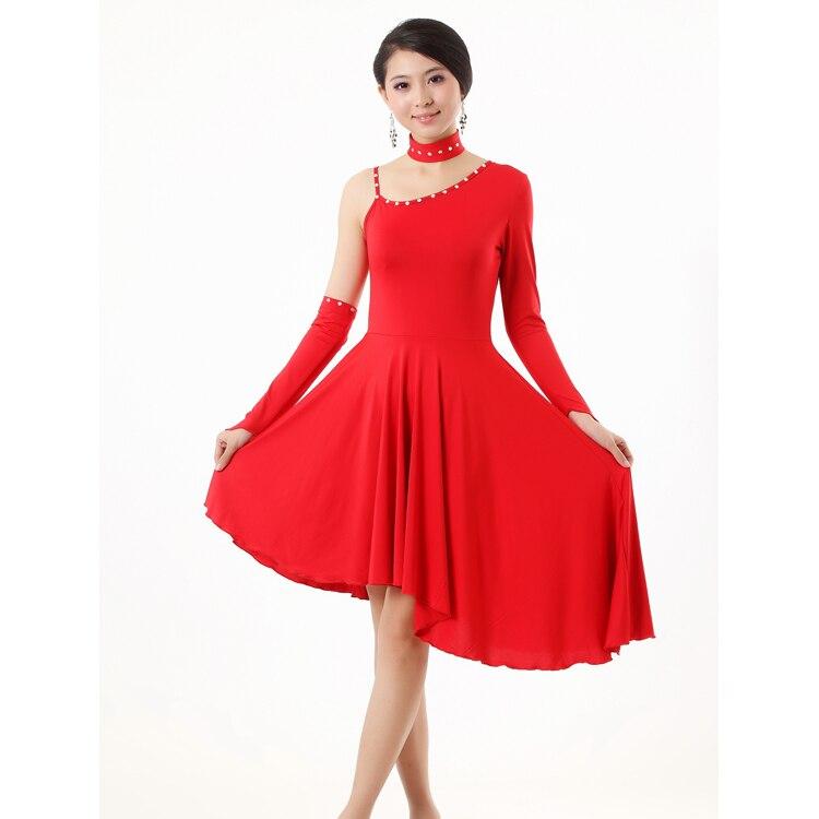 Buy adult latin dance clothes red black latin dancing one piece dress women 39 s - Robe de danse de salon pas cher ...