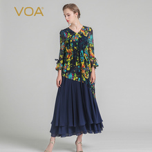 VOA 2017 Summer New Silk Boho Print Fake Two Piece Maxi Dress Fashion V-neck Plus Size Flare Sleeve Pleated Dress ALX06101